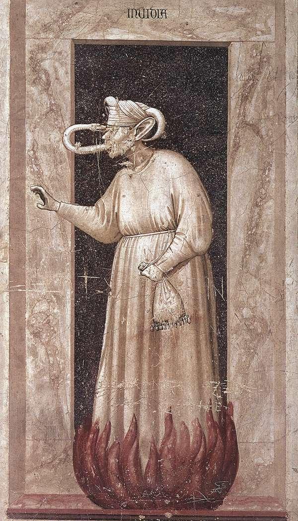 Giotto - L'invidia. Cappella degli Scrovegni, Padova (c. 1306)