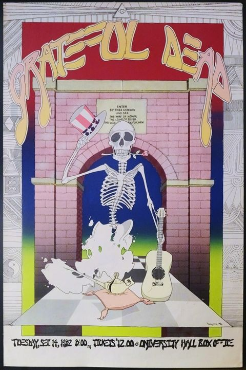 Concert Poster for the Grateful Dead appearing in Charlottesville, 1982