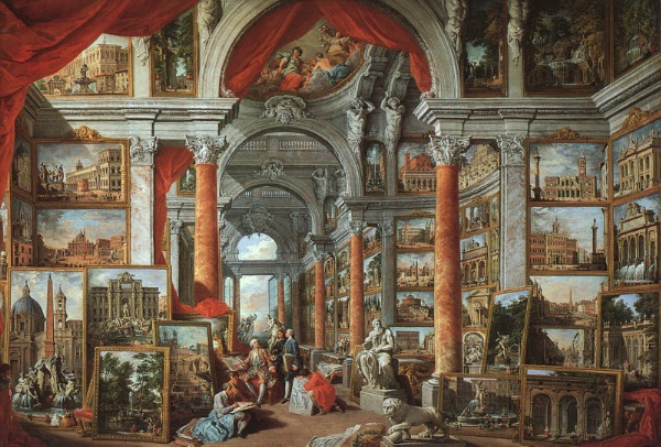 Giovanni Paolo Pannini (1691 - 1765) Interior of a Picture Gallery with the Collection of Cardinal Gonzaga