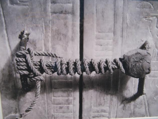 The unbroken seal on King Tutankhamon's tomb (1922)