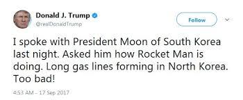 President Trump's tweet, 17 Sept 2017